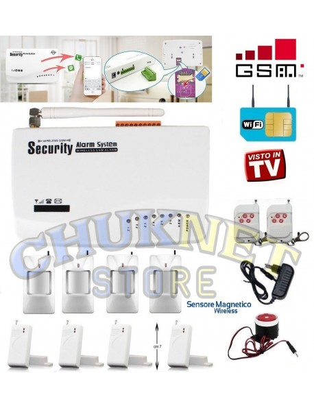 Antifurto allarme casa kit combinatore gsm wifi senza fili scheda sim cellulare chuknet store - Allarme per casa senza fili ...