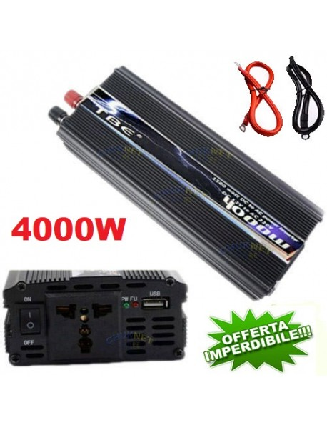 INVERTER 4000W WATT 12V 220V TRASFORMATORE AUTO CAMPEGGIO BARCA PC PRESA USB SG POWER ONDA SINUSOIDALE