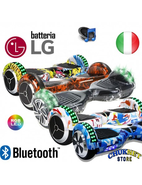 "HOVERBOARD 6.5"" LUCI LED BLUETOOTH SPEAKER OVERBOARD SMART BALANCE LG MONOPATTINO SCOOTER ELETTRICO"