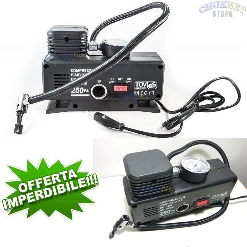 Compressore ad aria portatile potenza 250 psi attacco for Mini compressore portatile per auto moto bici 12v professionale accendisigari