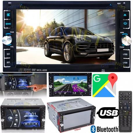"AUTORADIO STEREO DOPPIO 2DIN 6,2"" DVD NAVIGATORE GPS BLUETOOTH USB SD CD MP3 MONITOR"