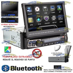 "AUTORADIO 1 DIN STEREO 7"" GPS NAVIGATORE AUTO BLUETOOTH TOUCH SCREEN USB AUX SD DVD CD"
