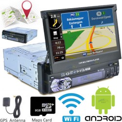 "ANDROID AUTORADIO 1DIN 7"" GPS NAVIGATORE WIFI BLUETOOTH DVD CD SD MOTORIZZATO STEREO"