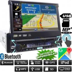 "AUTORADIO GPS NAVIGATORE 1DIN MOTORIZZATO 7"" BLUETOOTH SD USB AUX HD STEREO"