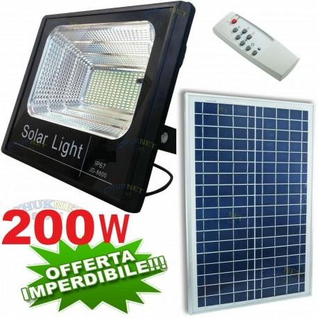 FARO FARETTO 200W LED PANNELLO ENERGIA SOLARE FOTOVOLTAICO CREPUSCOLARE BATTERIA