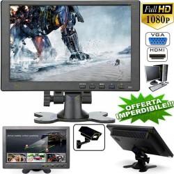 MONITOR 10.1 POLLICI 1080P COLORI LCD VGA HDMI BNC VIDEOSORVEGLIANZA