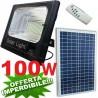 FARO 100W ENERGIA SOLARE LED CON PANNELLO FARETTO CREPUSCOLARE FOTOVOLTAICO TELECOMANDO