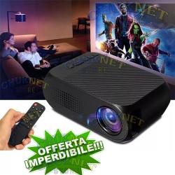 VIDEO PROIETTORE PORTATILE FULL HD 1080P CINEMA CASA PC TV USB 600LM LED MINI