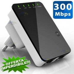 AMPLIFICATORE RIPETITORE SEGNALE WIRELESS WIFI 300MBPS TP-LINK LAN UNIVERSALE INTERNET ROUTER