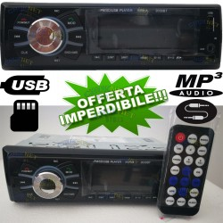 STEREO AUTORADIO AUTO BLUETOOTH MP3 USB SLOT SD AUX TELECOMANDO IR LCD