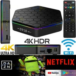 SMART TV BOX 4GB RAM 64GB ANDROID 8.1 4K ULTRA HD WIFI TELECOMANDO IPTV 4CORE