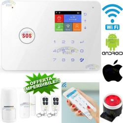 KIT ANTIFURTO CASA ALLARME WIFI COMBINATORE GSM APP WIRELESS SENZA FILI SIM CELL