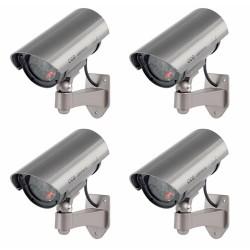 4 TELECAMERE FINTA BULLET DUMMY CON LED IR LAMPEGGIANTE VIDEOSORVEGLIANZA CAMERA