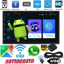 "AUTORADIO STEREO ANDROID 3G WiFi 7"" POLLICI GPS NAVIGATORE AUTO 2DIN BLUETOOTH TOUCH SCREEN USB MP3 MP5 MIRROR"