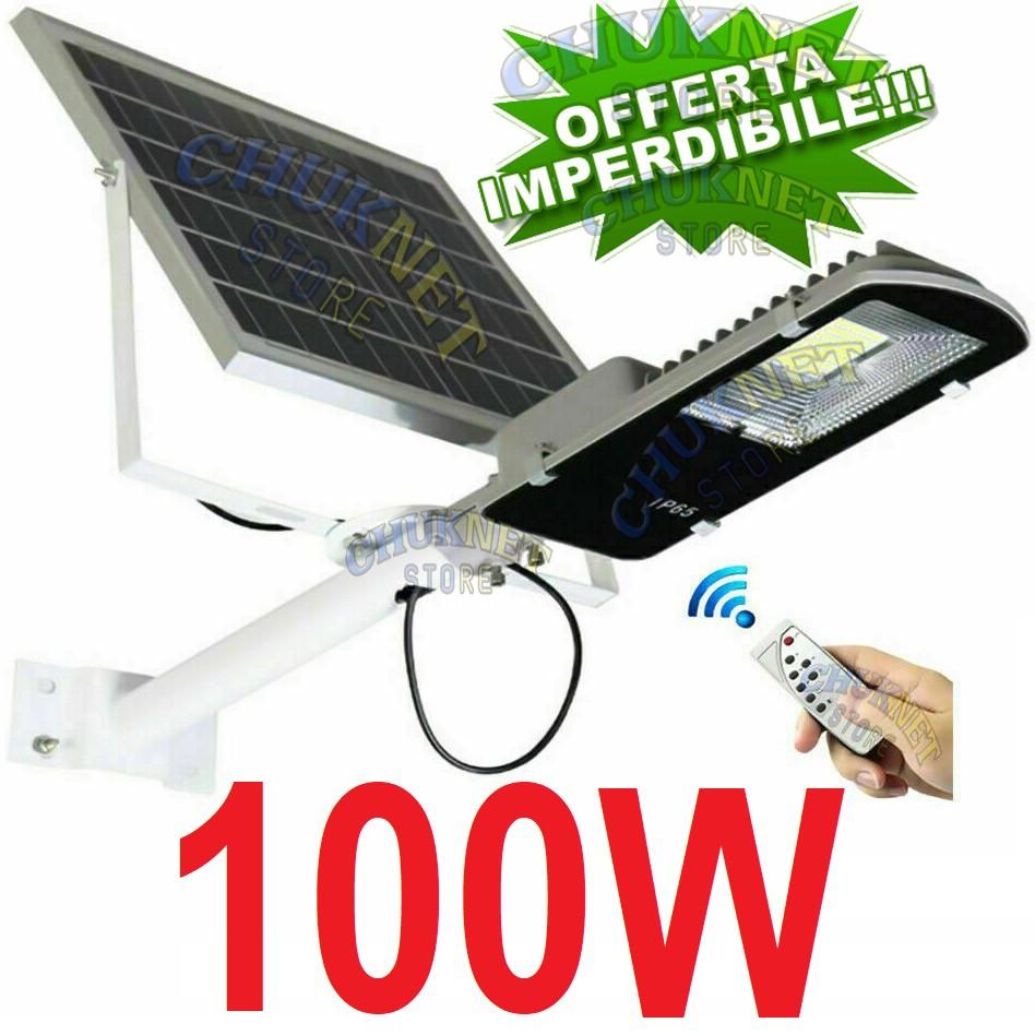 Accensione Lampadario Con Telecomando faro led lampione stradale 100w luce fredda con pannello solare  fotovoltaico staffa telecomando