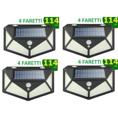 FARO LAMPADA FARETTO 114 LED ESTERNO PANNELLO SOLARE SENSORE DI MOVIMENTO RICARICABILE FOTOVOLTAICO