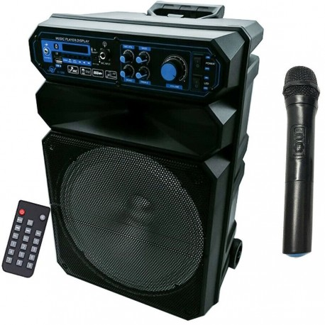 KARAOKE CASSA AMPLIFICATA 5000W MP3 RADIO MICROFONO BLUETOOTH USB SD AUX TROLLEY