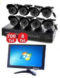 KIT VIDEOSORVEGLIANZA 8 CANALI TELECAMERA INFRAROSSI MONITOR 10