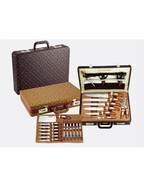 Set coltelli forchette utensili da cucina 25 pezzi valigia in pelle acciaio inox antiaderente - Prodotti per pulire casa ...