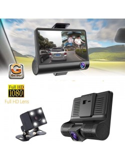 "KIT DVR AUTO 3 TELECAMERE VIDEOREGISTRATORE CAMERA FULL HD 1080P MONITOR 4"" VIDEO CAMPER"